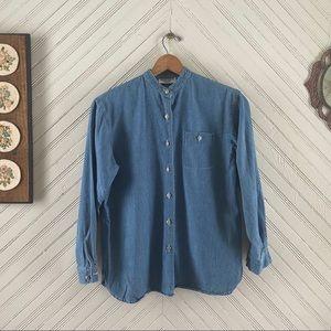 Vtg Denim Button Down Mandarin Collar Shirt